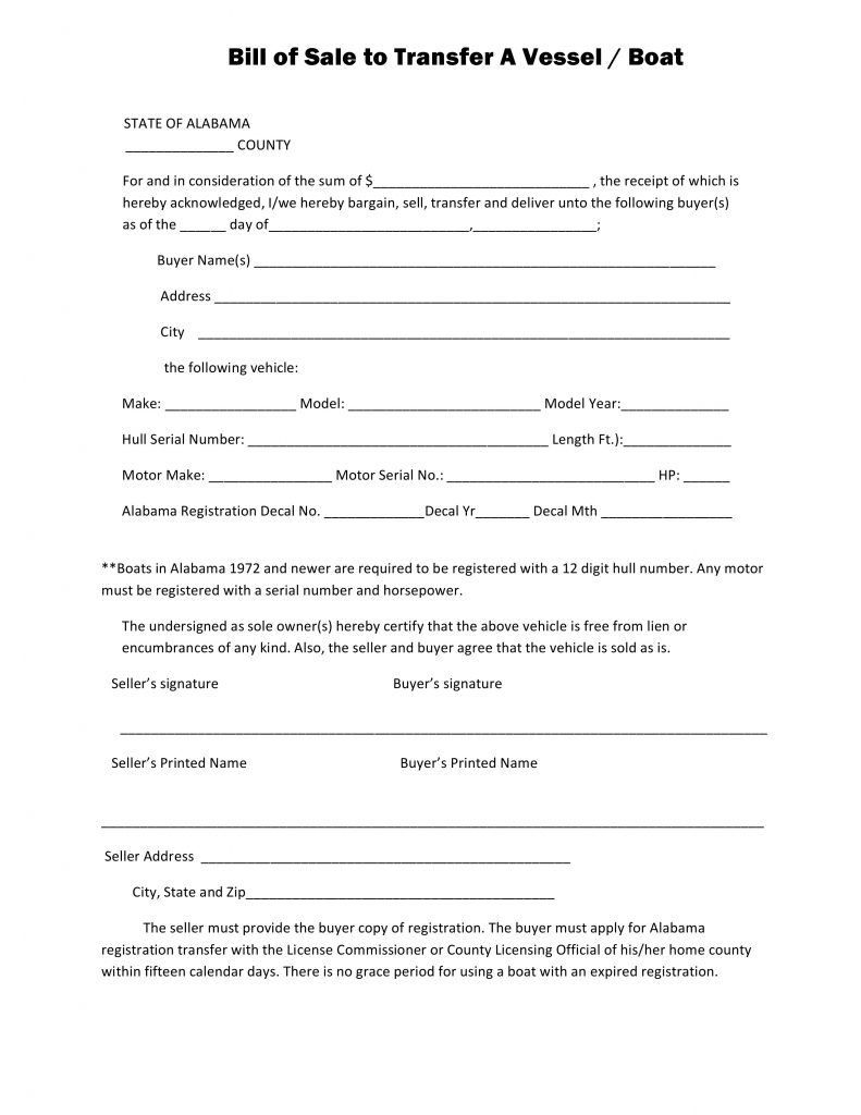 Free Alabama Boat Bill of Sale Form PDF – Bill of Sale Template for Boat