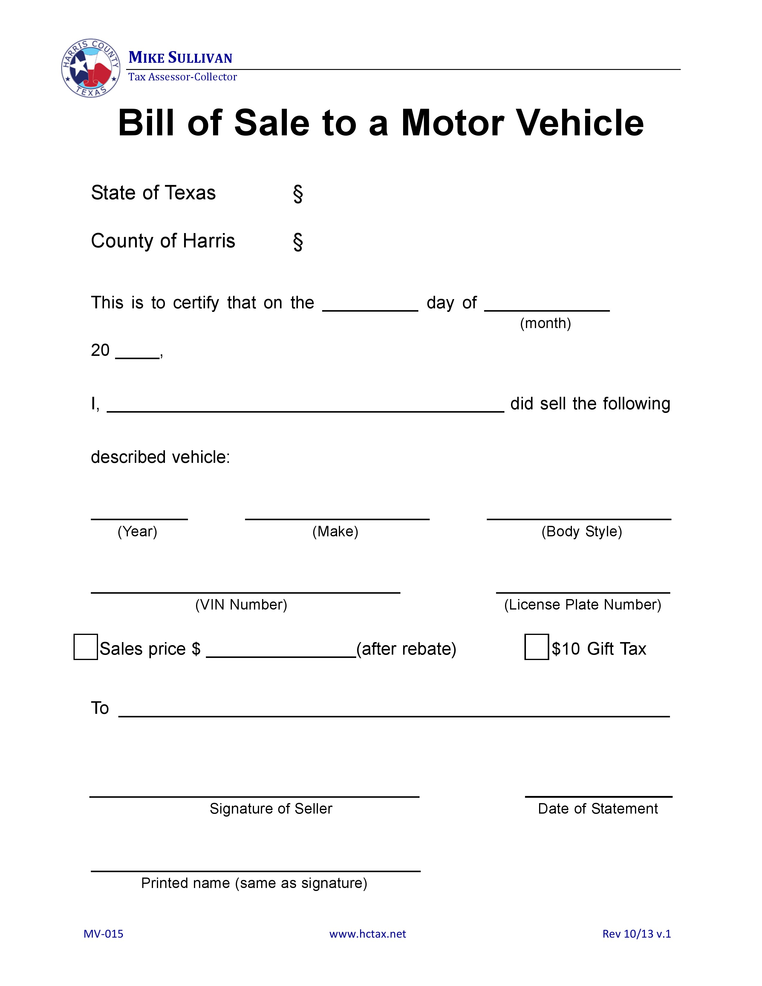 Free harris county texas motor vehicle bill of sale mv for Free motor vehicle bill of sale