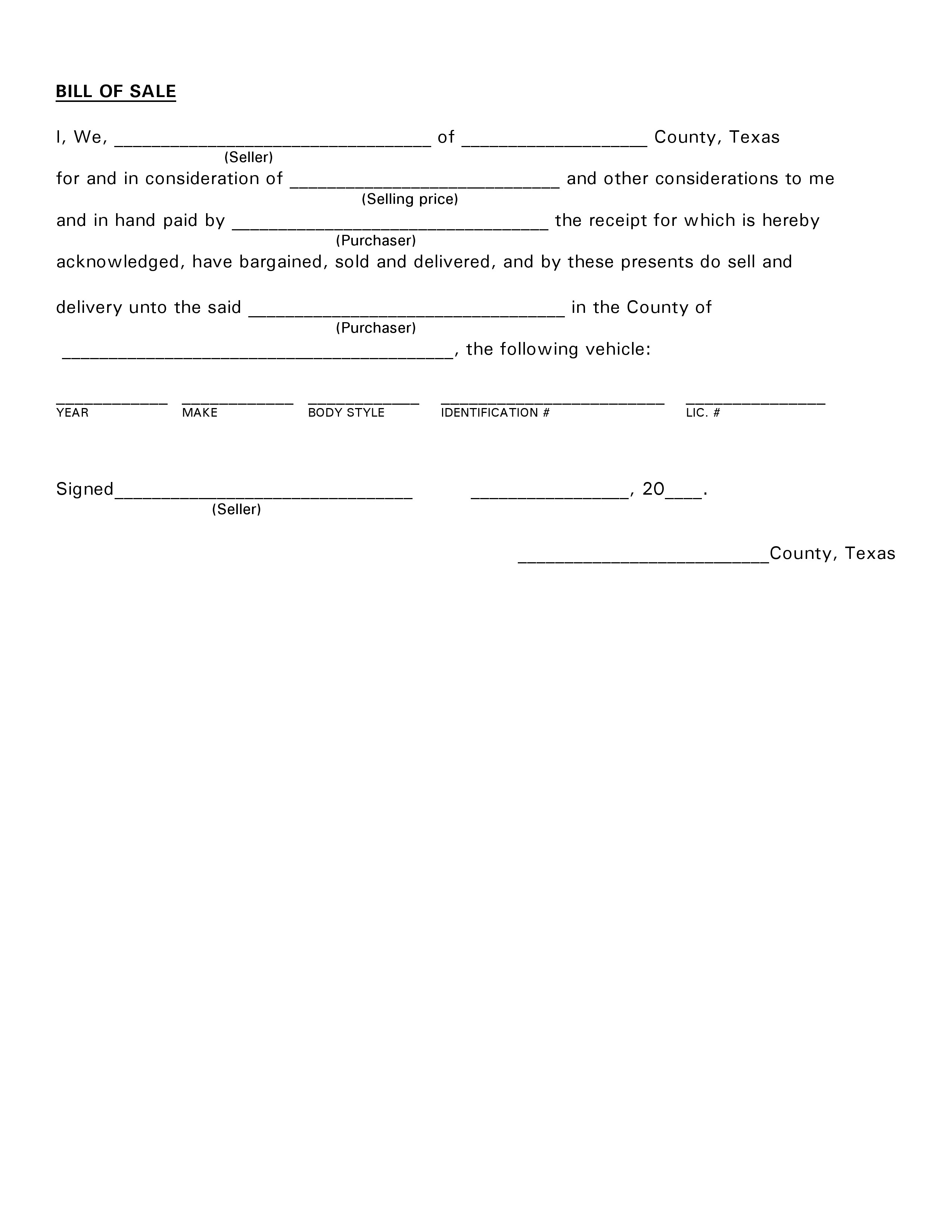 Free Texas Vehicle Bill of Sale PDF – Bill of Sale for Car