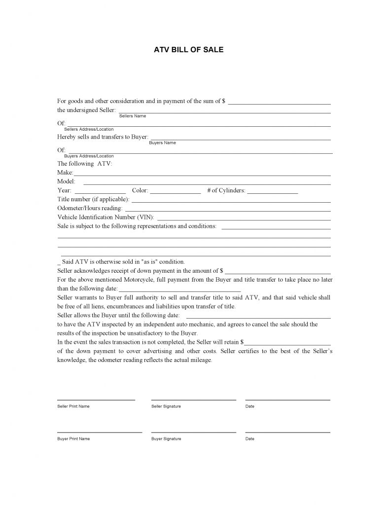 Free Atv Bill Of Sale Form Pdf Docx