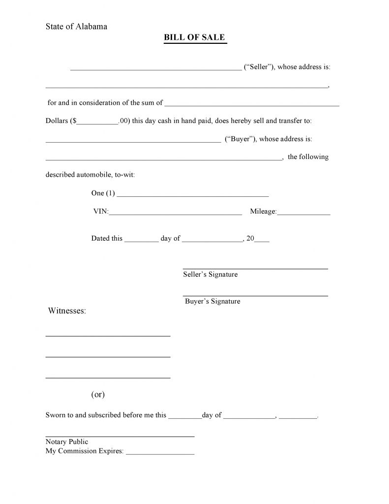 Free Alabama Bill of Sale Form PDF – Basic Bill of Sale Template