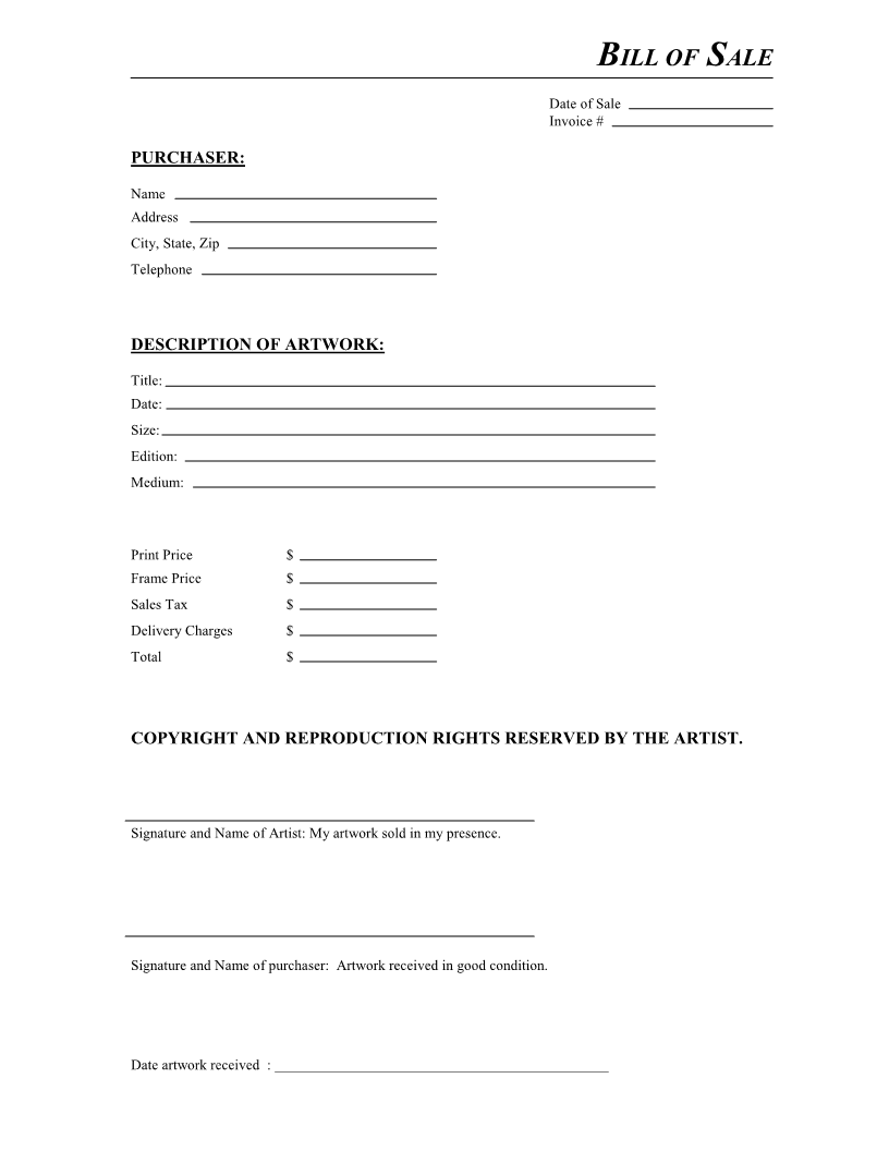 Free Artwork Bill of Sale Form PDF – Bill of Sales Forms