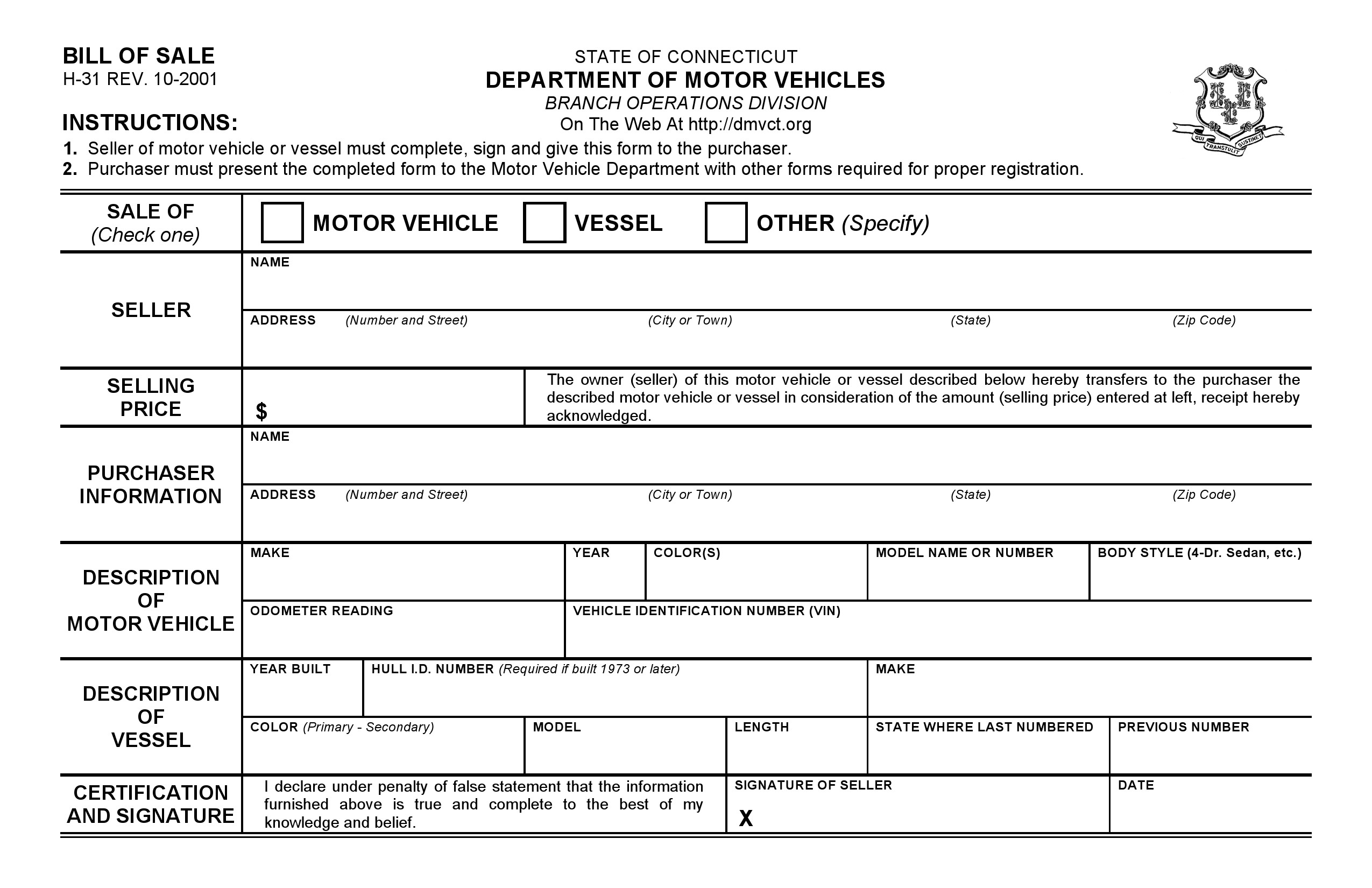 Free Connecticut DMV Bill of Sale Form PDF – Bill of Sale Dmv