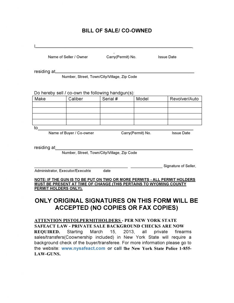 Free New York Firearms Bill of Sale Form PDF – Firearms Bill of Sale
