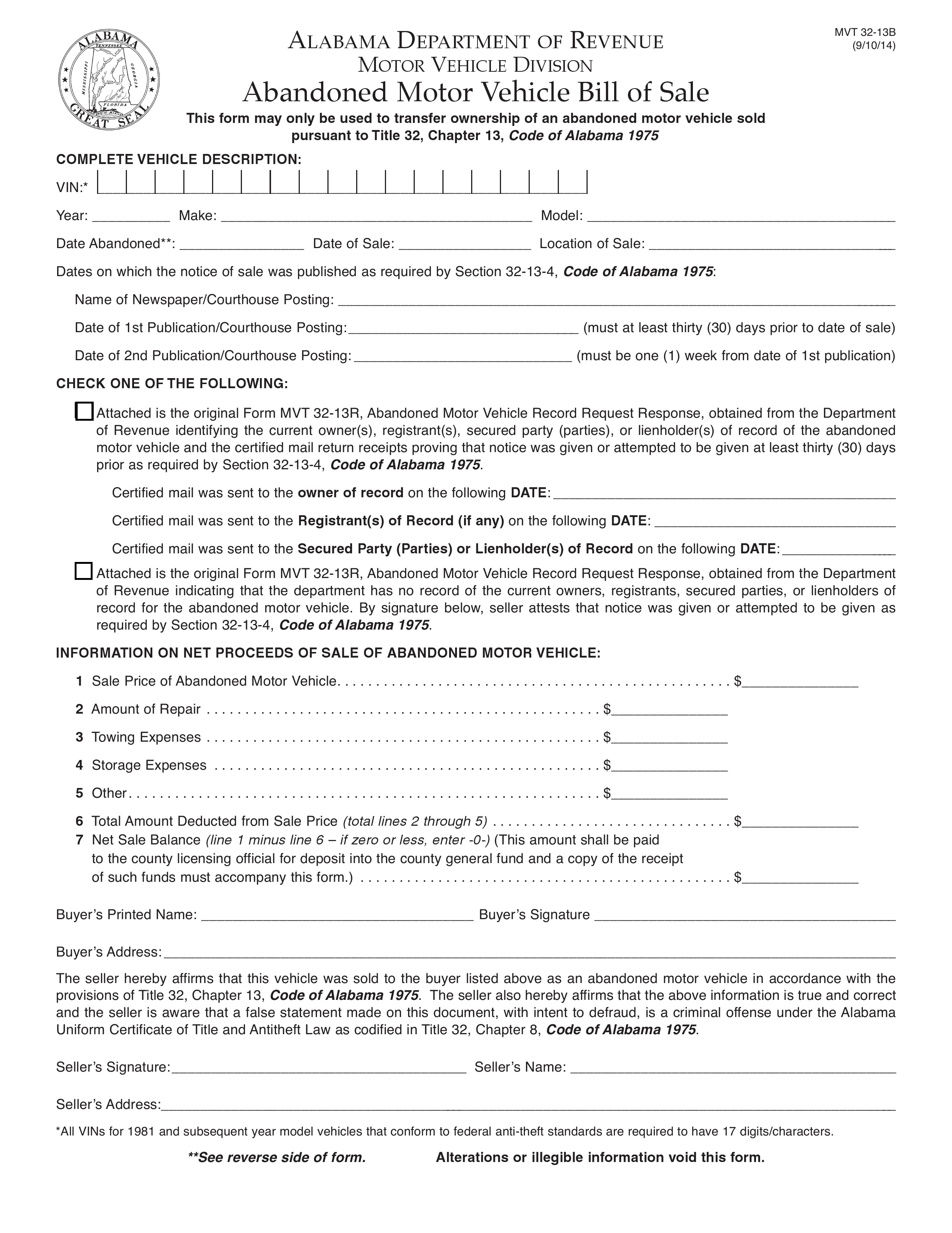 Free alabama abandoned vehicle bill of sale form pdf docx for Free motor vehicle bill of sale