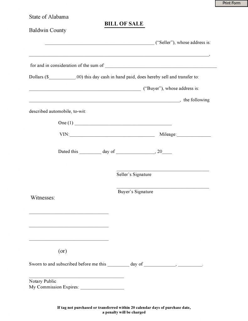free bill of sale form pdf