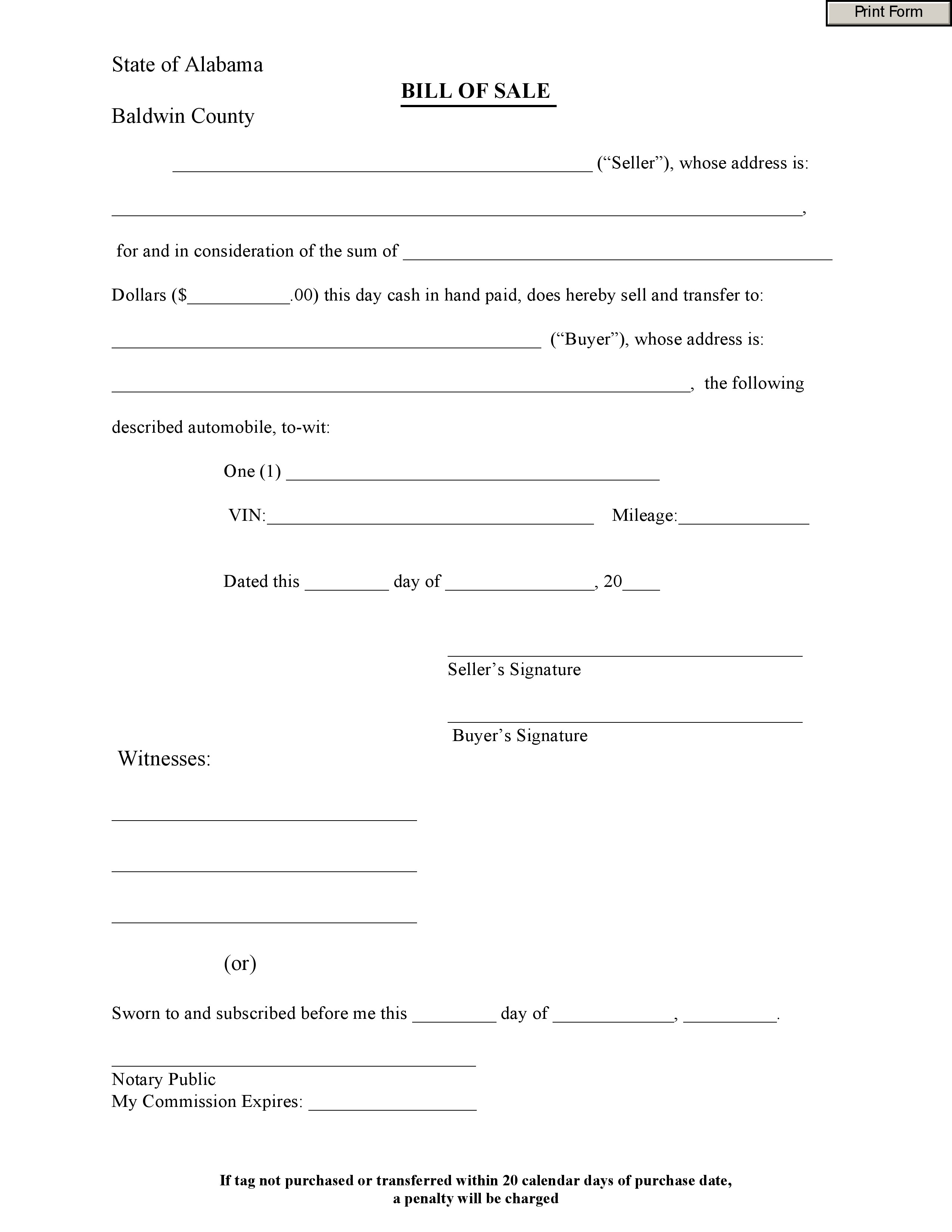 does a bill of sale have to be notarized