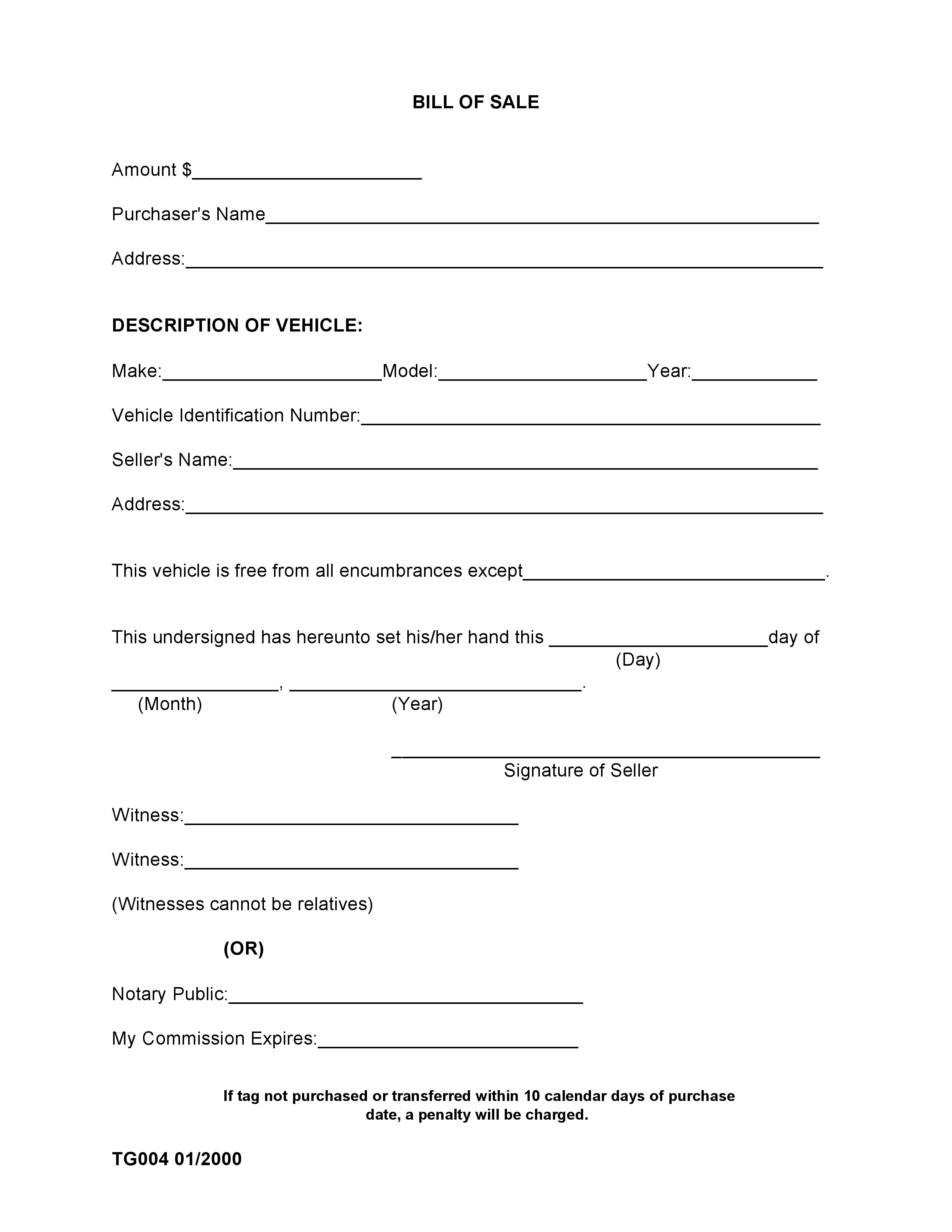 Free madison county alabama bill of sale form pdf docx for Tennessee motor vehicle bill of sale form