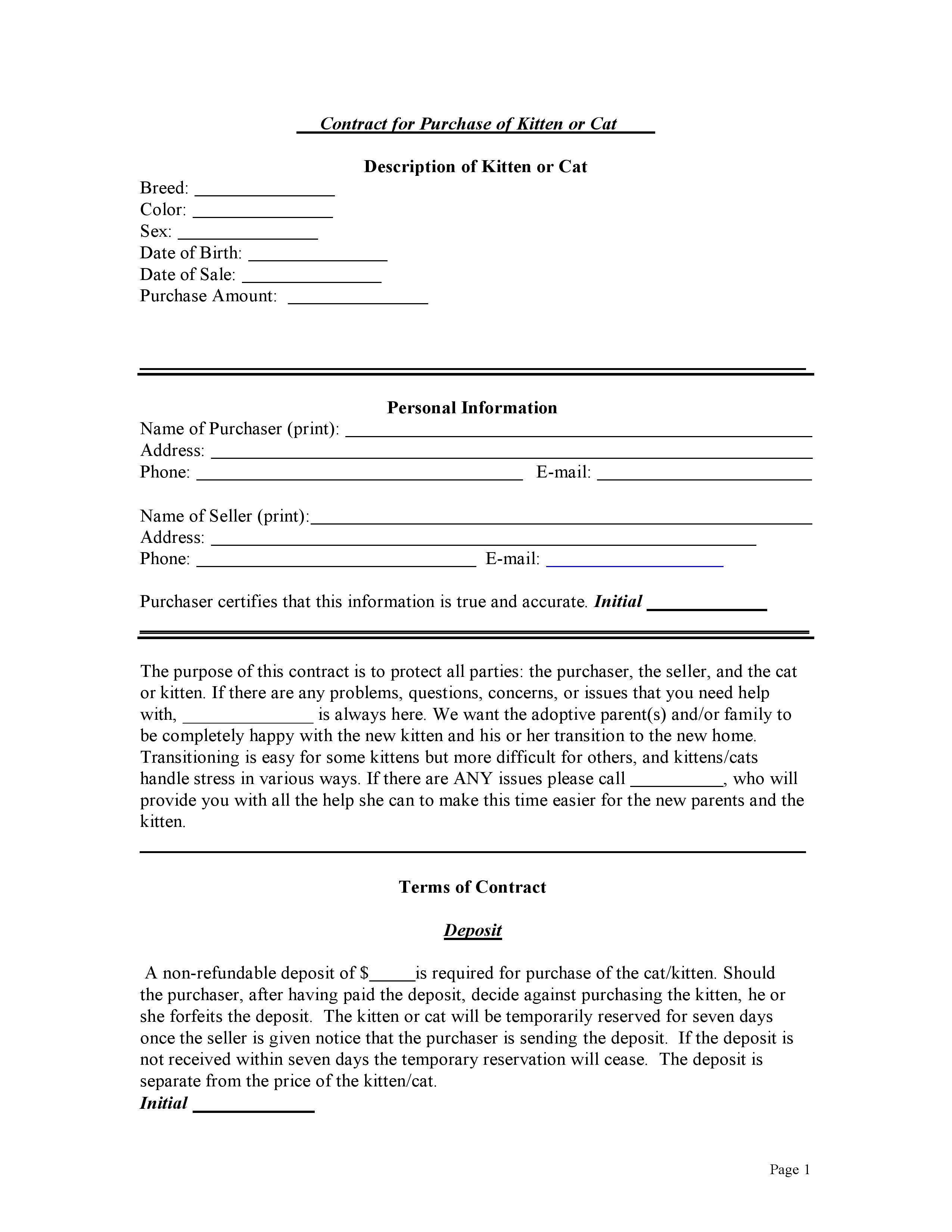 free bill of sale for a cat or kitten pdf docx