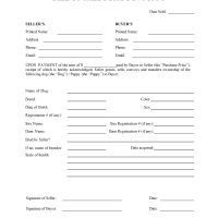 Dog or Puppy Bill of Sale Form
