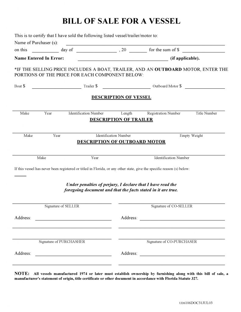 Free florida boat bill of sale form pdf docx for Florida motor vehicle number