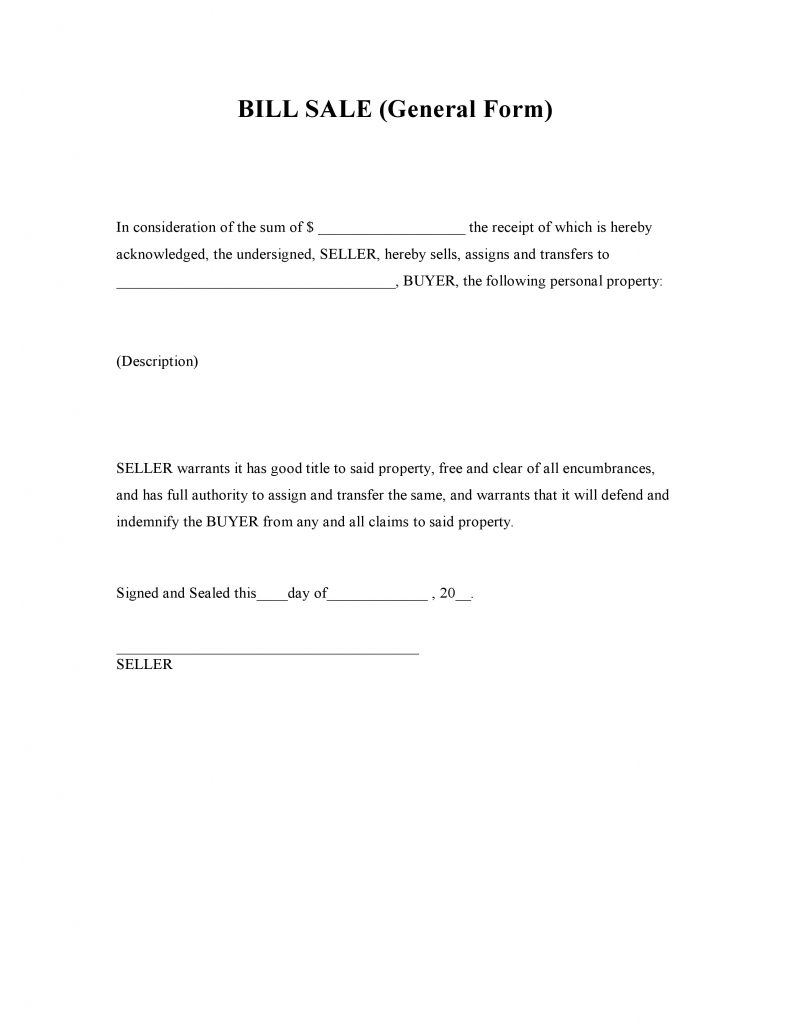 Free Generic Bill Of Sale Forms Pdf Docx