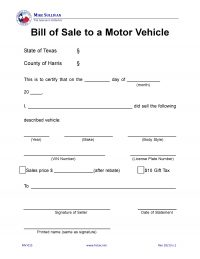Harris County, Texas Motor Vehicle Bill of Sale - MV-015
