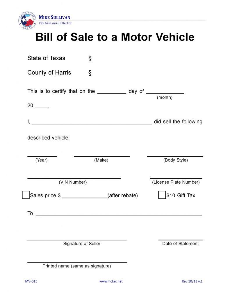 Harris County, Texas Motor Vehicle Bill of Sale - MV-015