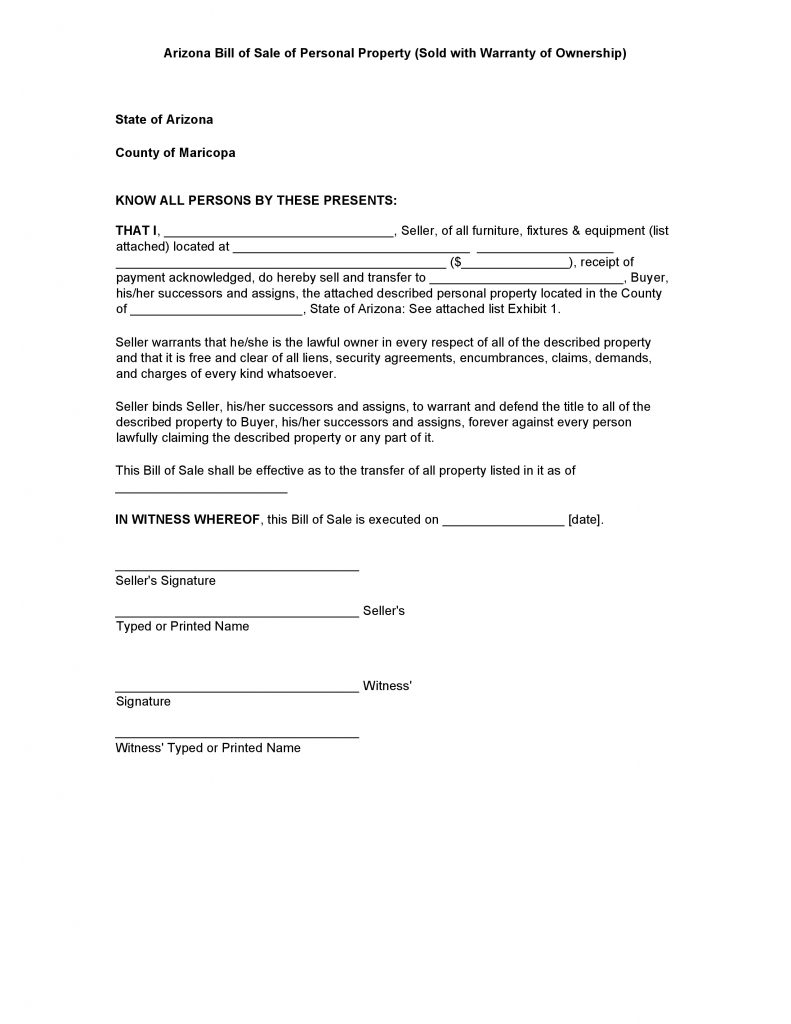 Free Arizona Personal Property Bill Of Sale Form Pdf Docx