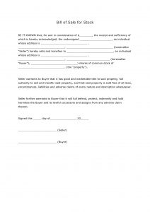 Bill of Sale for Stock