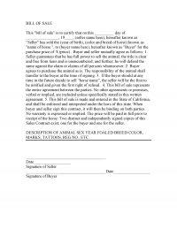 California Horse Bill of Sale Template 2