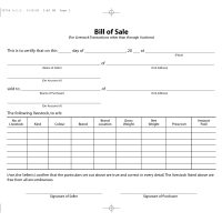 Livestock Bill of Sale Form