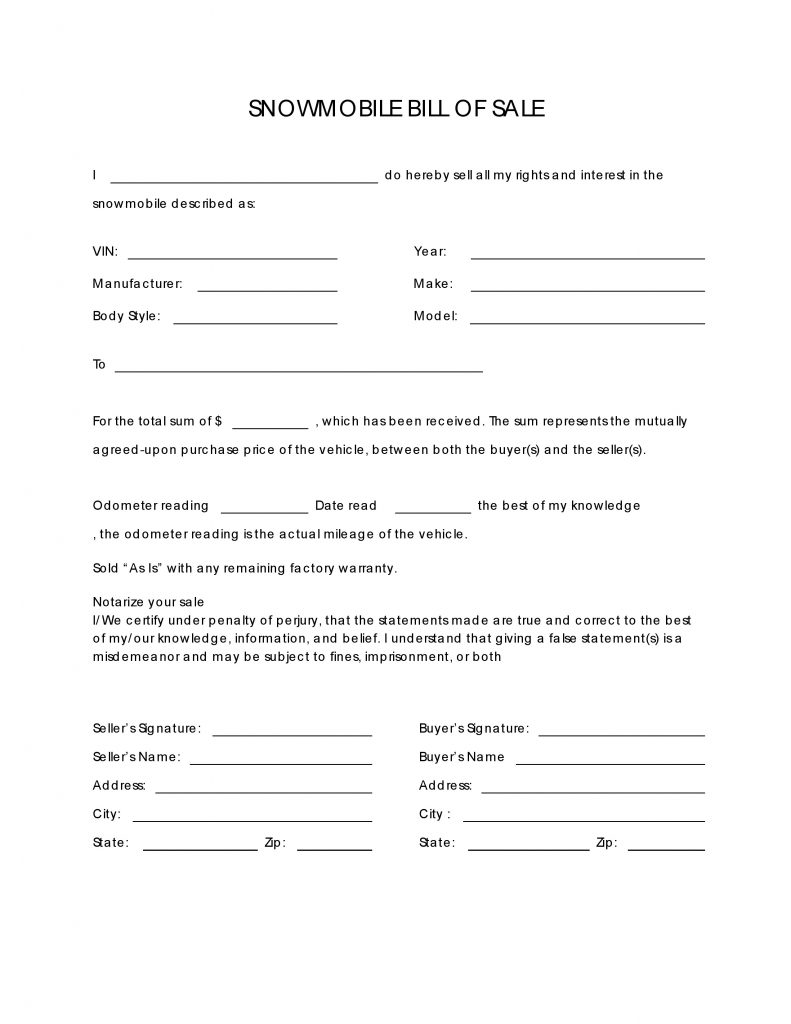 free snowmobile bill of sale form pdf docx