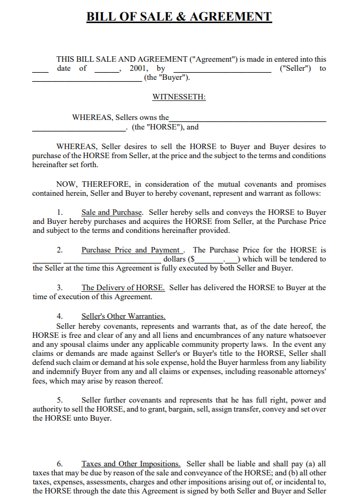 free california horse bill of sale  u0026 agreement template